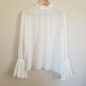 H&M Pleated Chiffon Blouse Size 6